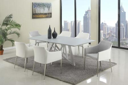 KATIE-5PC-GRY KATIE DINING 5 Piece Set - Wood Painted Grey Glass Dining Table Top and 4 Grey Accent Side