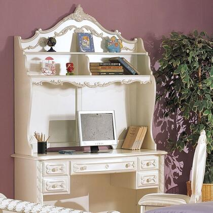 Pearl Collection 01017SET 3 PC Desk Set with Student Desk + Chair + Hutch in Pearl White and Gold Accent
