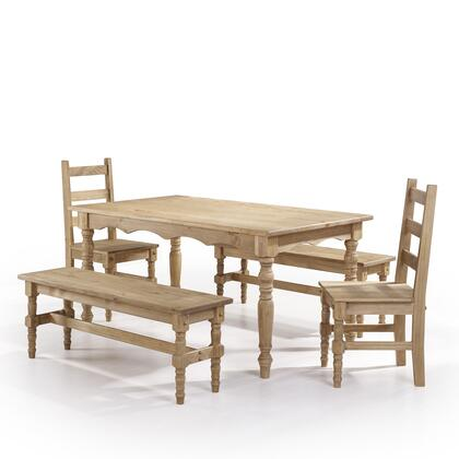 CSJ206 Jay 5-Piece Solid Wood Dining Set with 2 Benches  2 Chairs  and 1 Table in