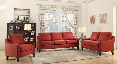 Zapata Collection 52490SET 3 PC Living Room Set with Sofa + Loveseat + Chair in Red