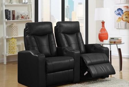Camden Collection 2 Seat Recliner Theater Set with Sinuous Seat Spring  Grade Deluxe Foam Cushions  Wood Frame and Bonded Leather Upholstery in Black