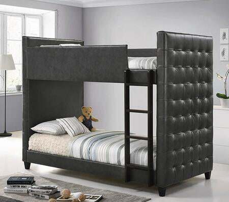 Helms Collection 405061 Twin Size Bunk Bed with Leatherette Upholstery  Tufted Detailing  Hardwood Ladder and Tapered Legs in Grey and