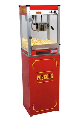 1108110  Theater Pop Poppers 8-Oz. Popcorn Machine with Built-In Warming Deck in Theater Red Finish and Popcorn