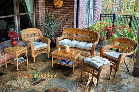 Portside PS6S-AMBER SAND 6-Piece Seating Patio Set with Loveseat  Coffee Table  Side Table  2 Chairs and Ottoman in Amber with Sand