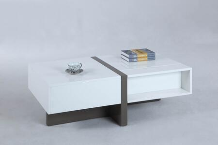 3568-CT Cocktail Table with 1 Raised Top in Gloss White and
