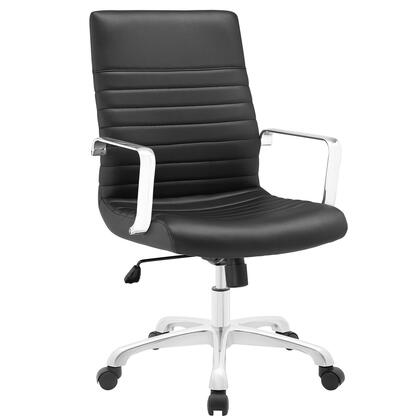 Finesse Collection EEI-1534-BLK Office Chair with 360 Degree Swivel  Mid Backrest  Adjustable Height  Polished Aluminum Frame and Ribbed Vinyl Upholstery in