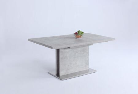 KALINDA-DT KALINDA DINING Grey Bufferfly Extension Laminated Dining Table Top and Brushed Stainless Steel Base