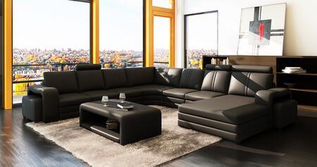 VGEV3130 Divani Casa 3130 Modern Black Bonded Leather Sectional Sofa w/ Coffee