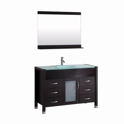 9132B-48 Cassiel 48 inch  Single Vanity In Espresso With Glass Vanity Top In Aqua And