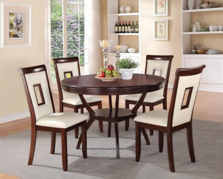 Oswell Collection 71604 5 PC Dining Room Set with Cream PU Chair Upholstery  Tapered Legs  Cut-Out Chair Back and Solid Pine Wood Construction in Cherry