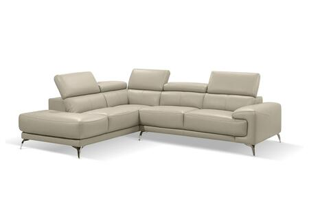 SL1467LSTAU Fabiola Sectional  Chaise On Left When Facing  Taupe Top Grain Italian Leather  Adjustable Headrests  Stainless Steel