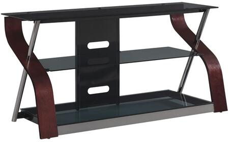 Cooper BFA50-94892-MDC TV Stand 50 inch  with S Shaped Sides  Tinted Tempered Safety Glass Shelves  Black Chrome Posts  and CMS Cable Management