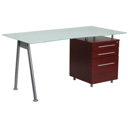 NAN-WK-021-MAH-GG Glass Computer Desk with Mahogany Three Drawer