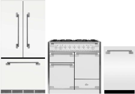 3-Piece White Kitchen Package with MELFDR23WHT 36 inch  French Door Refrigerator  AEL48DFWHT 48 inch  Freestanding Dual Fuel Range  and AELTTDWWHT24 inch  Fully Integrated