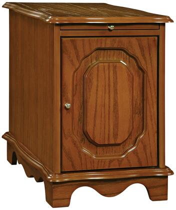 843 Oak Magazine Cabinet Table with Molding Details  Interior Hidden Brass Plated Rack and Pull Out Shelf in Nostalgic Oak