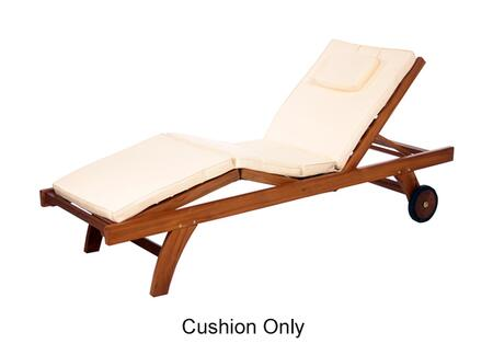 "TC70 75"" Chaise Lounger Cushion with Hi-Density Foam  Soft-Faced Cotton Canvas and Tie Downs in"