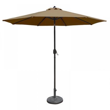 NU5422ST Mirage 9-ft Octagonal Market Umbrella w/ Auto-Tilt in Stone Olefin in