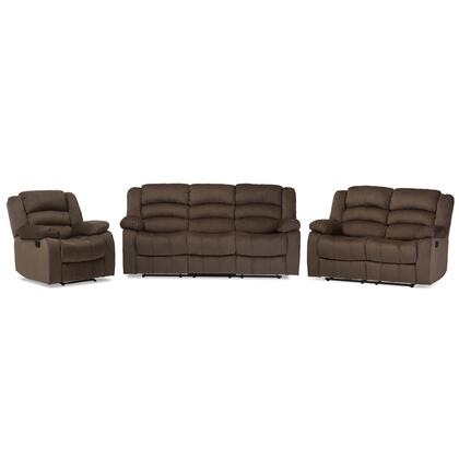 Baxton Studio Hollace 98240-BROWN 3PC SET 3-Piece Living Room Set with Reclining Sofa  Loveseat and Chair in Microsuede