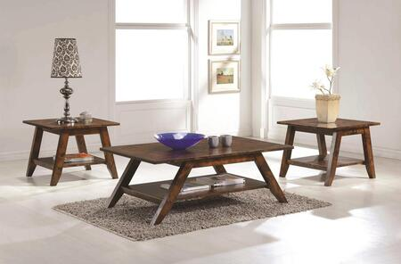 704038CE 3 PC Living Room Table Sets with Rectangular Coffee Table + 2 Square End Tables in Rustic Pecan