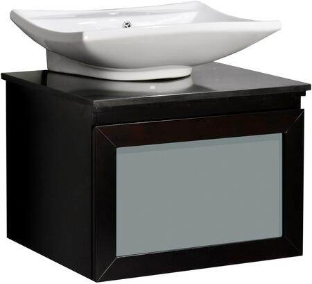 Newport WM3-24-ESP 24 inch  Single Sink Vanity Set with Ceramic Basin  Frosted Glass Drawer  CARB Compliant  Marble Plate  Scratch Resistant  Veneer and Solid Wood