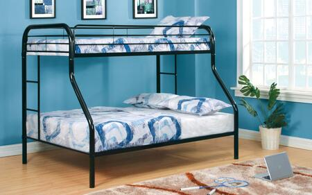 Rainbow Collection CM-BK1033-BK-BED Twin Over Full Size Bunk Bed with Both Sides Attached Ladder  Improved Rail Reinforcement and Metal Construction in Black