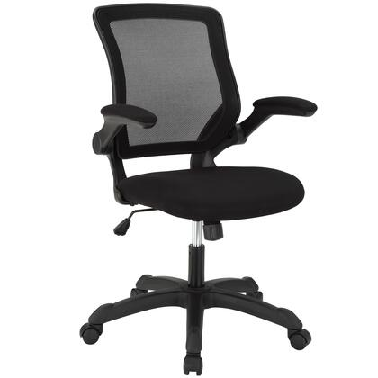 Veer Collection EEI-825-BLK Office Chair with Pneumatic Height Adjustment  Tilt Tension Control  Flip-Up Arms  Breathable Mesh Back and Mesh Fabric Sponge Seat