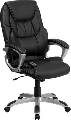 BT-9806HP-2-GG High Back Massaging Black Leather Executive Office Chair with Silver