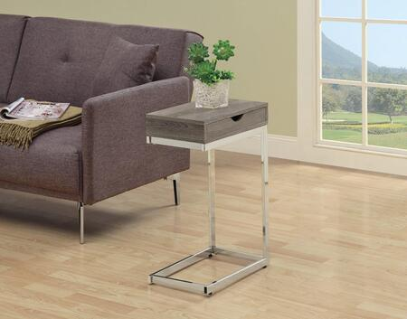 I 3254 Accent Table - Chrome Metal / Dark Taupe with a