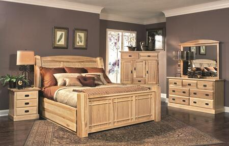 AHINT5171K4P Amish Highlands 4-Piece Bedroom Set with Arch Panel King Storage Bed  Dresser  Mirror and Single
