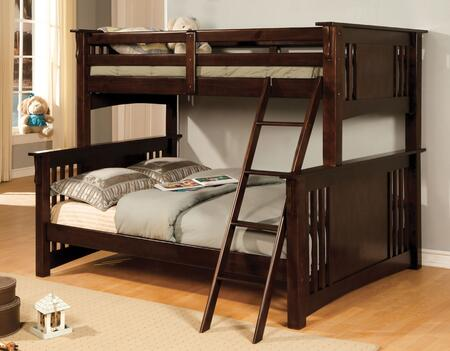 Spring Creek Collection CM-BK602F-EXP-BED Twin Over Full Size Bunk Bed with Angled Ladder  10 PC Slats Top/Bottom  Solid Wood and Wood Veneer Construction in