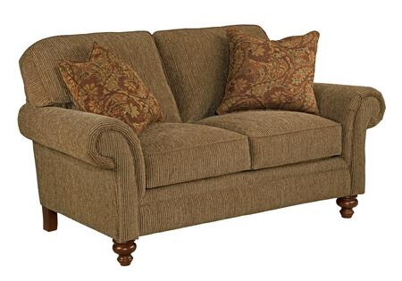 Larissa Collection 6112-1/8370-78/8375-67 66 inch  Loveseat with 2 Pillows  Large Rolled Arms and Pillow Back Cushions in Orange and Cherry Stain