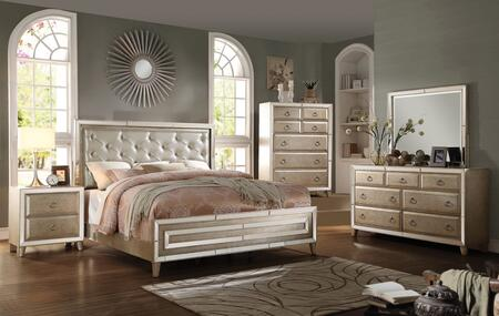 Voeville 20997EK5PC Bedroom Set with Eastern King Size Bed + Dresser + Mirror + Chest + Nightstand in Antique White