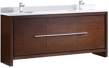 Allier Collection FCB8172WG-CWH-U 72 inch  Double Vanity with 2 Undermount Sinks  Quartz Stone Top  2 Soft Closing Doors and 3 Soft Closing Drawers in Wenge