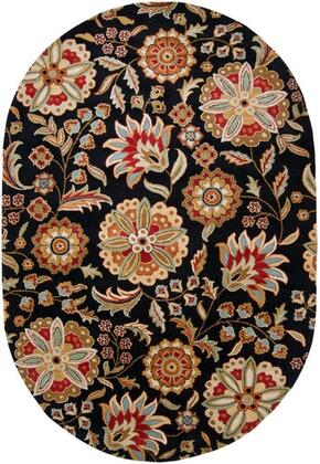 Athena Collection ATH5017-69OV Oval 6' x 9' Area Rug  Hand Tufted with Wool Material in Black and Red