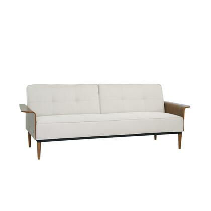 LCMOSOBE Monroe Mid-Century Convertible Futon in Beige Tufted Fabric and Walnut