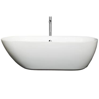 WCOBT100071ATP11BN 71 in. Center Drain Soaking Tub in White with Floor Mounted Faucet in Brushed