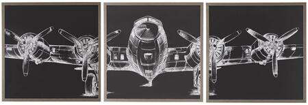 Wall Decor Collection 960081 3 PC Wall Art with Square Shapes  Made in the USA  Propeller Airplane Sketch and Metal Frame in Chrome
