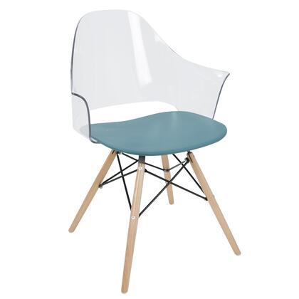 CH-TNCF TL+NA2 Tonic Flair Mid-Century Modern Dining / Accent Chair in Teal Blue - Set of