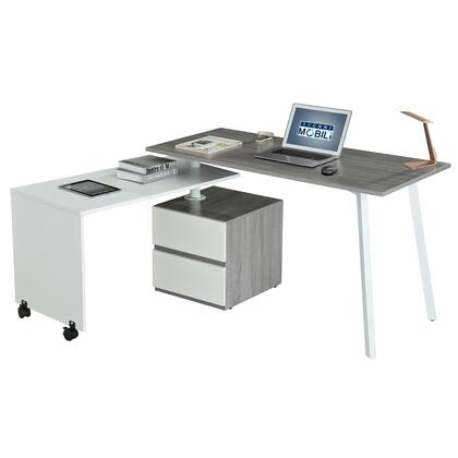 RTA-2336-GRY Techni Mobili Rotating Multi-Positional Modern Desk . Color:
