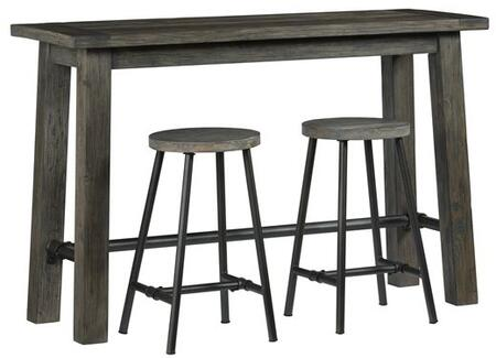 River Court T505-52 Counter Height Table with 2 Stools  Metal Stretchers and Solid Pine Construction in Weathered