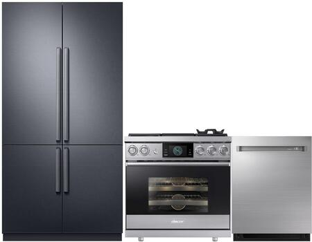 3-Piece Stainless Steel Kitchen Package with DRF427500AP 42 inch  French Door Refrigerator  RNRP48GSNGH 48 inch  Freestanding Gas Range  and DDW24M999US 24 inch  Fully