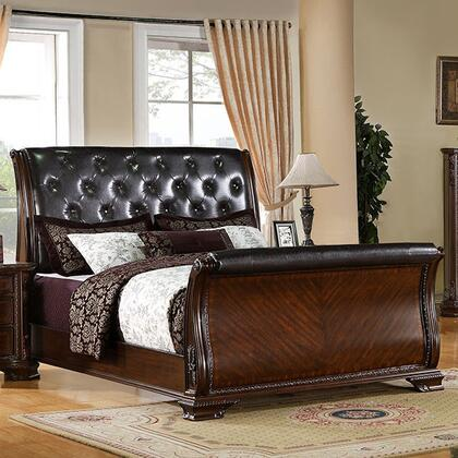 Yorkshire Collection CM7267Q-BED Queen South Size Sleigh Bed with Baroque Style  Leatherette Upholstery  Solid Wood and Wood Veneers Construction in Brown