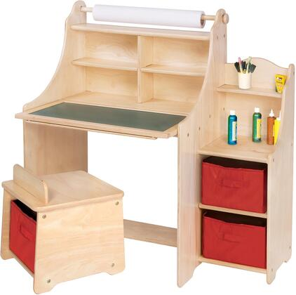G51032 36 inch  Artist Activity Desk with Paper Roll  Write-on/Wipe-off Surface  Chalkboard Surface  Storage Bins  Shelves and Cup Holders in Natural Light Wood
