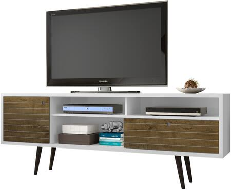 """Liberty Collection 202AMC69 71"""" Mid Century - Modern TV Stand with Solid Wood Legs  4 Shelving Spaces and 1 Drawer in White and Rustic"""