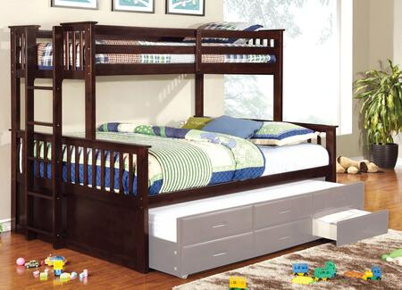 University II Collection CM-BK458Q-EXP-BED Twin Over Queen Size Bunk Bed with 13 PC Slats Top and Bottom  Side Access Ladder  Solid Wood and Wood Veneers