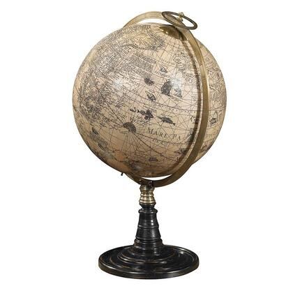 GL046 Old World Globe Stand with Rosewood  Brass & Plastic w/Paper Gores Material  in Ivory  Polished Bronze & Black Honey Distressed French