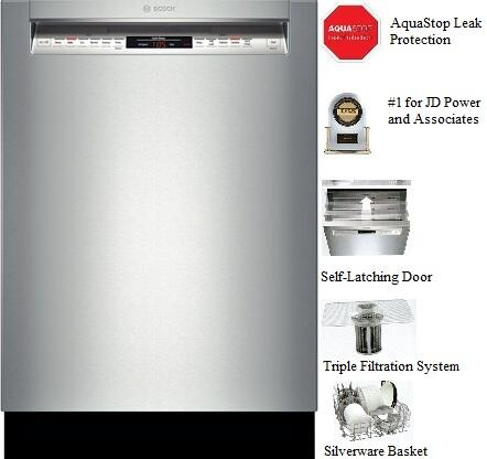 "Bosch 800 Series 24"" Tall Tub Built-In Dishwasher with Stainless-Steel Tub Stainless Steel SHE68T55UC"