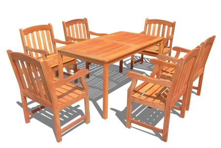 V98SET29 Outdoor Wood Balthazar Rectangular Table and 6 V211 Outdoor Wood Ward Series