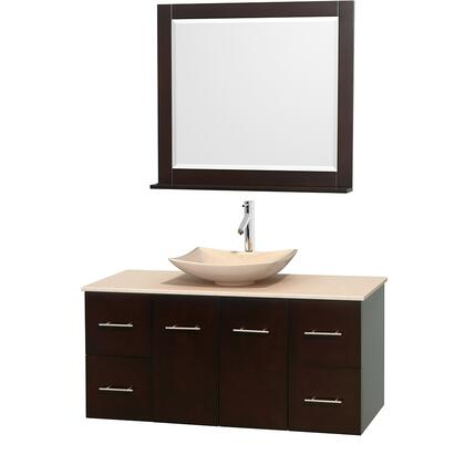 WCVW00948SESIVGS5M36 48 in. Single Bathroom Vanity in Espresso  Ivory Marble Countertop  Arista Ivory Marble Sink  and 36 in.