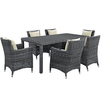 Summon Collection Eei-2330-gry-bei-set 7-piece Outdoor Patio Sunbrella Dining Set With Dining Table And 6 Armchair In Antique Canvas